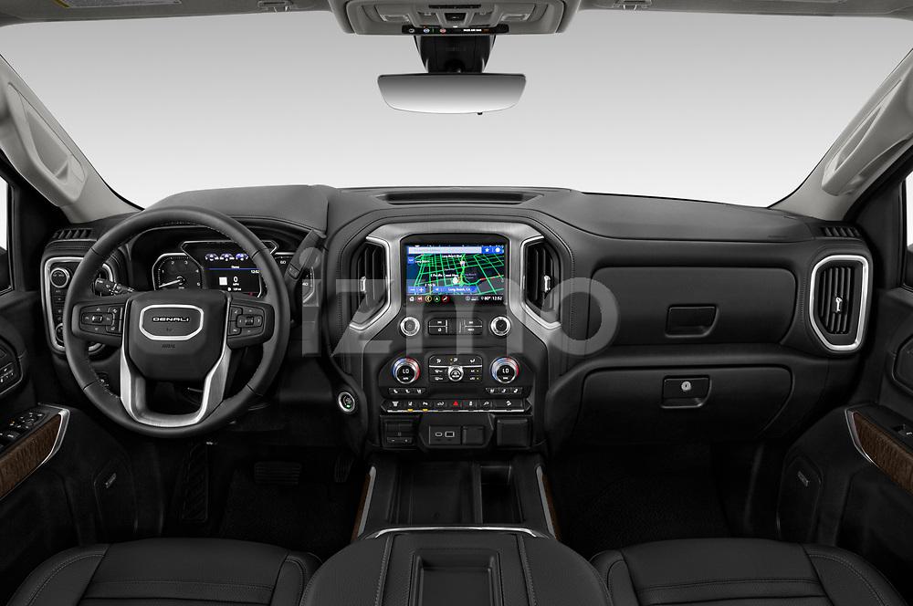 Stock photo of straight dashboard view of 2020 GMC Sierra-3500HD Denali 4 Door Pick-up Dashboard