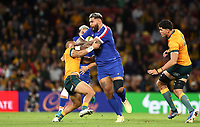 17th July 2021; Brisbane, Australia;  France's Romain Taofifenua runs into contact during the Australia versus France, 3rd Rugby Test at Suncorp Stadium, Brisbane, Australia on Saturday 17th July 2021.