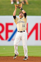 Wake Forest Demon Deacons shortstop Pat Blair #11 settles under a pop fly during the game against the Miami Hurricanes at NewBridge Bank Park on May 25, 2012 in Winston-Salem, North Carolina.  The Hurricanes defeated the Demon Deacons 6-3.  (Brian Westerholt/Four Seam Images)