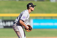 Salt River Rafters third baseman Josh Fuentes (19), of the Colorado Rockies organization, during an Arizona Fall League game against the Mesa Solar Sox at Sloan Park on October 30, 2018 in Mesa, Arizona. Salt River defeated Mesa 14-4 . (Zachary Lucy/Four Seam Images)