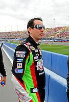 Feb 22, 2009; Fontana, CA, USA; NASCAR Sprint Cup Series driver Kyle Busch prior to the Auto Club 500 at Auto Club Speedway. Mandatory Credit: Mark J. Rebilas-