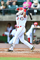 Greeneville Reds first baseman Rylan Thomas (37) swings at a pitch during a game against the Bluefield Blue Jays at Pioneer Park on June 30, 2018 in Greeneville, Tennessee. The Blue Jays defeated the Red 7-3. (Tony Farlow/Four Seam Images)