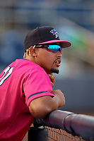 Pensacola Blue Wahoos pitcher Jhoan Duran (21) during a Southern League game against the Mobile BayBears on July 25, 2019 at Hank Aaron Stadium in Pensacola, Florida.  Pensacola defeated Mobile 2-1 in the first game of a doubleheader.  (Mike Janes/Four Seam Images)