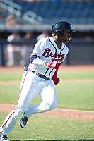 Peoria Javelinas right fielder Ronald Acuna (34), of the Atlanta Braves organization, hustles down the first base line during a game against the Scottsdale Scorpions on October 19, 2017 at Peoria Stadium in Peoria, Arizona. The Scorpions defeated the Javelinas 13-7.  (Zachary Lucy/Four Seam Images)
