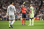 The referee Real Madrid's Cristiano Ronaldo and Manchester City's Fernando during Champions League 2015/2016 Semi-Finals 2nd leg match at Santiago Bernabeu in Madrid. May 04, 2016. (ALTERPHOTOS/BorjaB.Hojas)