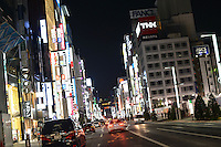 GINZA AT NIGHT<br /> GINZA IS THE TOKYO'S POSH SHOPPING DISTRICT.
