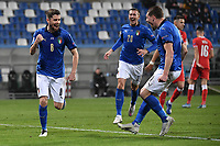 Jorginho of Italy celebrates after scoring a goal on penalty with Andrea Belotti during the Uefa Nation League Group Stage A1 football match between Italy and Poland at Citta del Tricolore Stadium in Reggio Emilia (Italy), November, 15, 2020. Photo Andrea Staccioli / Insidefoto