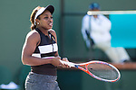 March 8, 2019: Sloane Stephens (USA) reacts during her match where she was defeated by Stephanie Vogele (SUI) 6-3, 6-0 at the BNP Paribas Open at the Indian Wells Tennis Garden in Indian Wells, California. ©Mal Taam/TennisClix/CSM