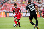 Bayern Munich Forward Kingsley Coman (L) fights for the ball with AC Milan Midfielder Ricardo Rodriguez (R) during the 2017 International Champions Cup China  match between FC Bayern and AC Milan at Universiade Sports Centre Stadium on July 22, 2017 in Shenzhen, China. Photo by Marcio Rodrigo Machado / Power Sport Images