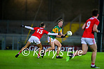 Armin Heinrich, Kerry in action against Hugh O'Connor, Cork during the Munster Minor Semi-Final between Kerry and Cork in Austin Stack Park on Tuesday evening.