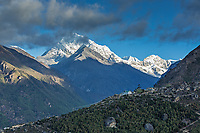 Zarok house and the view towards village of Thame with Tengi Ragi Tau in the background, view from Namche Bazar, Nepal