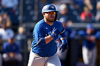 Toronto Blue Jays Alejandro Kirk (85) runs to first base during a Spring Training game against the New York Yankees on February 22, 2020 at the George M. Steinbrenner Field in Tampa, Florida.  (Mike Janes/Four Seam Images)
