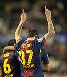 VALLADOLID, SPAIN - DECEMBER 22:  Tello of FC Barcelona celebrates after scoring against Real Valladolid during the La Liga game between Real Valladolid and FC Barcelona at Jose Zorrilla on December 22, 2012 in Valladolid, Spain.  Photo by Victor Fraile / The Power of Sport Images