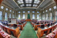An interior view of the House Chamber in the Maine State House in Augusta, Maine.