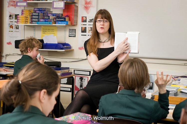 Year 8 English class at St Benedict's School, Ealing.