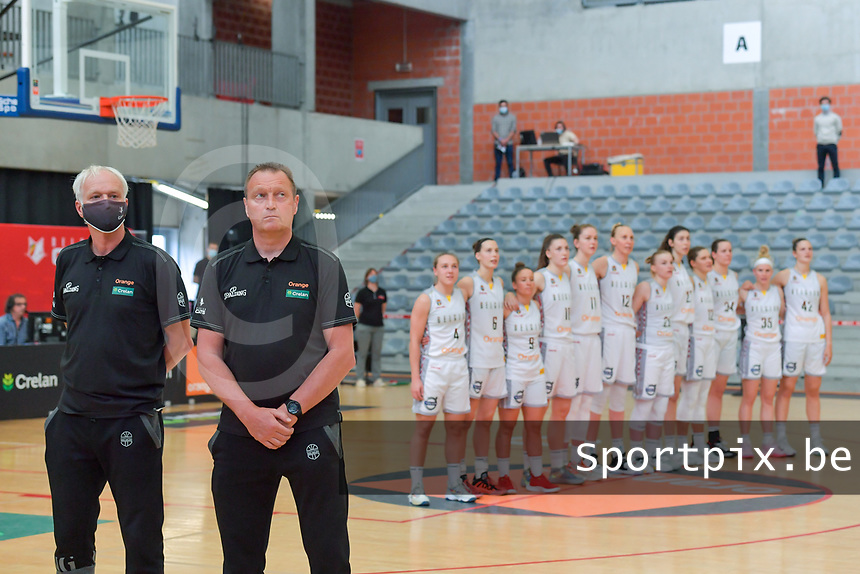 Pierre Cornia assistant coach and Philip Mestdagh headcoach of Belgium pictured before a basketball game between the national teams of Belgium , called the Belgian Cats , and Serbia on Friday 28 th of May 2021 in Kortrijk , Belgium . PHOTO SPORTPIX.BE   SPP   STIJN AUDOOREN