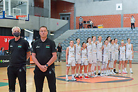 Pierre Cornia assistant coach and Philip Mestdagh headcoach of Belgium pictured before a basketball game between the national teams of Belgium , called the Belgian Cats , and Serbia on Friday 28 th of May 2021 in Kortrijk , Belgium . PHOTO SPORTPIX.BE | SPP | STIJN AUDOOREN