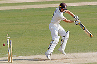 Laurie Evans of Surrey is bowled first ball after tea during Essex CCC vs Surrey CCC, Bob Willis Trophy Cricket at The Cloudfm County Ground on 9th August 2020