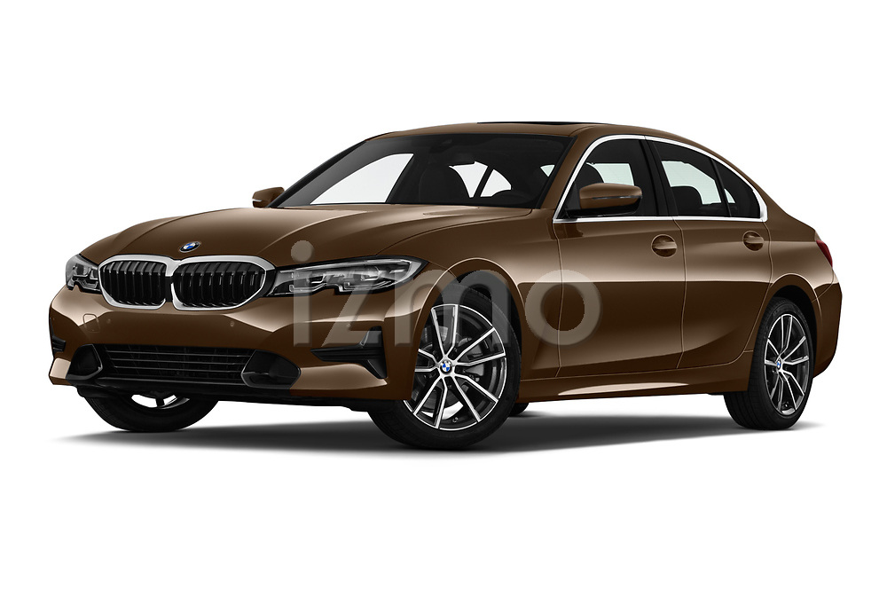Stock pictures of low aggressive front three quarter view of a 2019 BMW 3-Series  Sport 4 Door Sedan