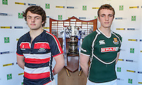 SCHOOLS CUP DRAW 2016 | Monday 16th November 2015<br /> <br /> Wellington College captain Jason Lyons and Friends School captain James Maxwell at the 2016 Ulster Schools Cup draw at Kingspan Stadium, Ravenhill Park, Belfast, Northern Ireland.<br /> <br /> Photo credit: John Dickson / DICKSONDIGITAL