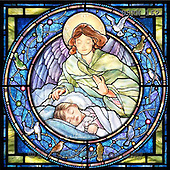 Randy, HOLY FAMILIES, HEILIGE FAMILIE, SAGRADA FAMÍLIA, paintings+++++SG-Guardian-Angel-and-Girl-S,USRW162,#xr# napkins ,church window, stained glass