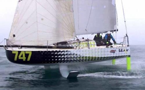Minitransat boat Sea-Air in 2017 was demonstrating prototype foils