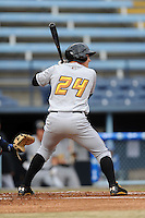 West Virginia Power catcher Reese McGuire #24 awaits a pitch during game one of a double header against the Asheville Tourists at McCormick Field on April 8, 2014 in Asheville, North Carolina. The Power defeated the Tourists 6-5. (Tony Farlow/Four Seam Images)