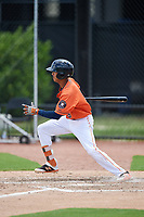 GCL Astros shortstop Deury Carrasco (6) hits a single during during a game against the GCL Nationals on August 6, 2018 at FITTEAM Ballpark of the Palm Beaches in West Palm Beach, Florida.  GCL Astros defeated GCL Nationals 3-0.  (Mike Janes/Four Seam Images)