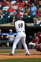 Drew Ellis (10) of the Louisville Cardinals at bat against the Florida State Seminoles in Game Eleven of the 2017 ACC Baseball Championship at Louisville Slugger Field on May 26, 2017 in Louisville, Kentucky. The Seminoles defeated the Cardinals 6-2. (Brian Westerholt/Four Seam Images)