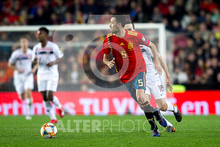Spain's Sergio Busquets and Norway's Ole Selnaes   during the qualifying match for Euro 2020 on 23th March, 2019 in Valencia, Spain. (ALTERPHOTOS/Alconada)