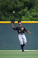 Pittsburgh Pirates Elvis Escobar (3) during a minor league Spring Training game against the Toronto Blue Jays on March 24, 2016 at Pirate City in Bradenton, Florida.  (Mike Janes/Four Seam Images)