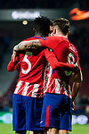 Saul Niguez Esclapez of Atletico de Madrid celebrates with teammates during the UEFA Europa League 2017-18 Round of 16 (1st leg) match between Atletico de Madrid and FC Lokomotiv Moscow at Wanda Metropolitano  on March 08 2018 in Madrid, Spain. Photo by Diego Souto / Power Sport Images