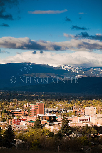 The Missoula, Montana valley and the buildings in the downtown area