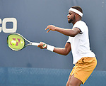 August 1,2019:   Frances Tiafoe (USA) loses the first set to Daniil Medvedev(RUS) 6-2, at the Citi Open being played at Rock Creek Park Tennis Center in Washington, DC, .  ©Leslie Billman/Tennisclix/CSM