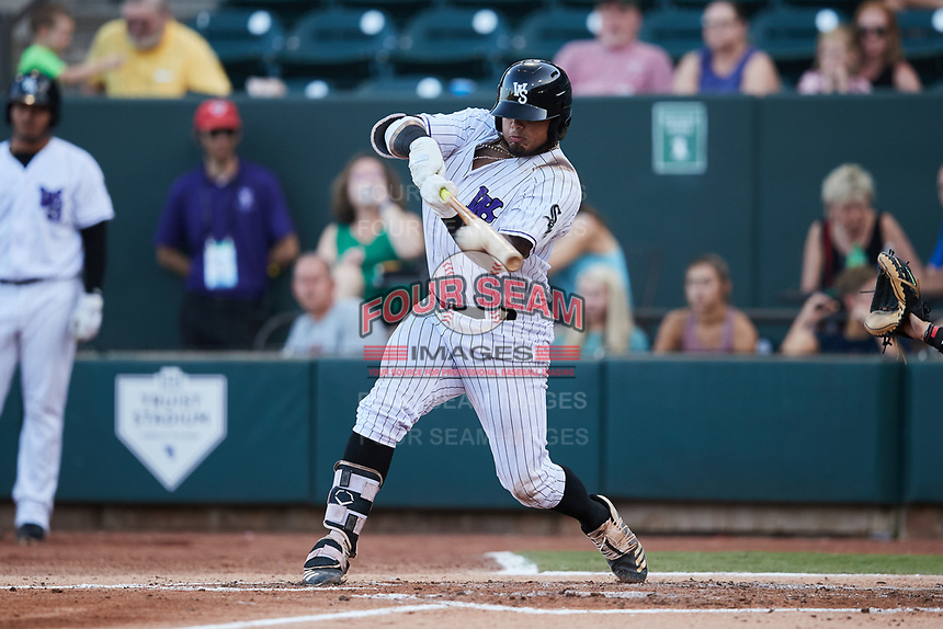 Harvin Mendoza (17) of the Winston-Salem Dash makes contact with the baseball Hudson Valley Renegades at Truist Stadium on August 28, 2021 in Winston-Salem, North Carolina. (Brian Westerholt/Four Seam Images)