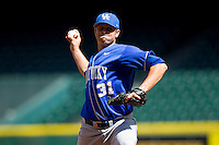 Starting pitcher Jordan Cooper #31 of the Kentucky Wildcats in action against the Utah Utes at Minute Maid Park on March 6, 2011 in Houston, Texas.  Photo by Brian Westerholt / Four Seam Images