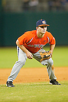 Third baseman Wes Gilmer #11 of the Auburn Tigers on defense against the Alabama Crimson Tide at Riverwalk Park on March 15, 2011 in Montgomery, Alabama.  Photo by Brian Westerholt / Four Seam Images