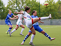 Luna Vanzeir (10) of OHL and Rkia Mazrouai (2) of AA Gent in action during a female soccer game between Oud Heverlee Leuven and AA Gent Ladies on the 9 th matchday of play off 1 in the 2020 - 2021 season of Belgian Womens Super League , saturday 22 nd of May 2021  in Heverlee , Belgium . PHOTO SPORTPIX.BE   SPP   SEVIL OKTEM