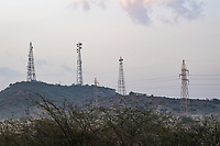 India, Gujarat, Kutch Desert, Bhadroi Village, cell phone towers.