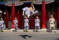 China. Shaolin monks demonstrating Kungfu, martial arts, at Shaolin Temple.