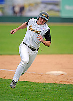 2 May 2008: University of Vermont Catamounts' first baseman Kyle Henry, a Senior from Brattleboro, VT, rounds third base during a game against the Binghamton University Bearcats at Historic Centennial Field in Burlington, Vermont. The Catamounts defeated the Bearcats 6-2 in the first game of their weekend series...Mandatory Photo Credit: Ed Wolfstein Photo