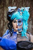 Female Baroque Two Face Cosplay from Batman, Emerald City Comicon, Seattle, WA, USA.