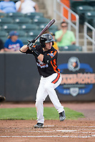 Mason McCoy (6) of the Aberdeen IronBirds at bat against the Hudson Valley Renegades at Leidos Field at Ripken Stadium on July 27, 2017 in Aberdeen, Maryland.  The Renegades defeated the IronBirds 2-0 in game one of a double-header.  (Brian Westerholt/Four Seam Images)