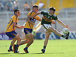 Dan McCarthy of Kerry in action against Adam O'Connor and Darragh Connelly of Clare during their Munster Minor football final at Pairc Ui Chaoimh. Photograph by John Kelly.