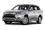 Stock pictures of low aggressive front three quarter view of a 2019 Mitsubishi Outlander PHEV Instyle 5 Door SUV