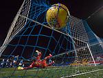 27.02.18 St Johnstone v Rangers:<br /> Sean Goss bursts the net with his free kick
