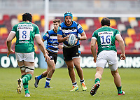 27th March 2021; Brentford Community Stadium, London, England; Gallagher Premiership Rugby, London Irish versus Bath;   Zach Mercer of Bath being marked by Matt Rogerson and Agustin Creevy of London Irish