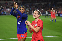Saint Paul, MN - SEPTEMBER 03: Jessica McDonald #22, Kristen Hamilton #25 of the United States Celebrate during their 2019 Victory Tour match versus Portugal at Allianz Field, on September 03, 2019 in Saint Paul, Minnesota.