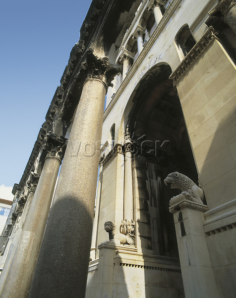 CROATIA. SPLIT. Split. Cathedral. Entrance gate into the cathedral. Lions.