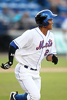 St. Lucie Mets outfielder Pedro Zapata #26 during a game against the Charlotte Stone Crabs at Digital Domain Ballpark on June 20, 2011 in Port St Lucie, Florida.  St. Lucie defeated Charlotte 3-2 in 11 innings.  (Mike Janes/Four Seam Images)